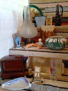Retró, lámpa, váza, tál, nipp, vödör
